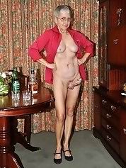 Naked old granny body is relaxing