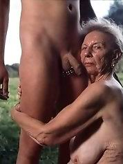 Naked lonely grandmother and her amazing body