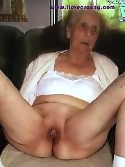 Sexy old granny with monster boobs in panties